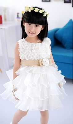 Stunning Pearl Accent Tiered Princess Ivory Flower Girl Dress Toddler Age 2-6