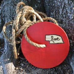 """Round Tree Swing - """"Nebraska love"""". $59.00, via Etsy."""
