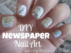 To do these, you will need:    light colored nail polish {I used white}  newspaper comic strip {or maybe just some text}  alcohol {my mom didn't have any in her first aid kit so I used 151! }  small cup to put in alcohol {I used the nail polish remover cap}  scissors  clear nail polish (: