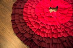 Red Ombre ruffle Christmas tree skirt