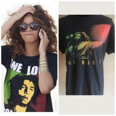 Bob Marley singing tee size large unisex Marley graphic tee size large Zion rootswear. Marley singing. Black is somewhat faded but only makes the shirt look better. Vintage look. 4 Marley shirts listed as of this post. If interested all can be bundled for a great price which will also save you on shipping. ️Trusted posher with 4.9 rating and 1.3 average days to ship. We share and follow back. Rihanna Style inspo for the cover shot only. Zion rootswear Tops Tees - Short Sleeve