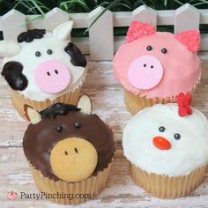 farm barnyard animal cupcakes, cow cupcake, pig cupcake, chicken rooster cupcake, horse cupcake, farm theme party ideas, animal cupcakes,