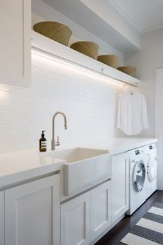 Laundry Room Lighting, Laundry Room Sink, Farmhouse Laundry Room, Farmhouse Small, Laundry Closet, Laundry Storage, French Farmhouse, Farmhouse Ideas, Modern Farmhouse