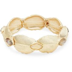 Nanette Lepore Leaf and Stone Accented Stretch Bracelet ($24) ❤ liked on Polyvore featuring jewelry, bracelets, gold, leaf jewelry, leaves jewelry, stone jewelry, stretch jewelry and stone jewellery