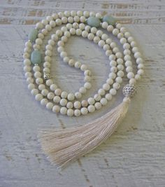tassel necklace amazonite crystal healing necklace by beachcombershop