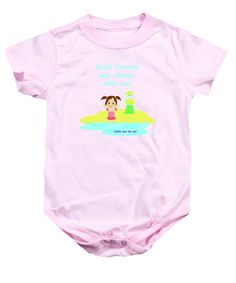 Purchase a baby onesie featuring the image of Cathy And The Cat Friends Are With You by Laura Greco.  Available in sizes S - XL.  Each onesie is printed on-demand, ships within 1 - 2 business days, and comes with a 30-day money-back guarantee.