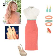 coral and turquoise love, created by erikabalmer on Polyvore