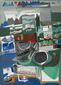 Peter Yates, Britain, ca. 1953 | Gouache, pen and ink and crayon on paper. In this exceptional print Yates depicts scenes, buildings and places which represent aspects of Britain, from the white cliffs to the white chalk horses, from the mills and the windmills to the chapels and the churches. Each vignette captures an aspect whilst the whole speaks of that notion, 'Britain'