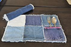 upcycled jeans placemat