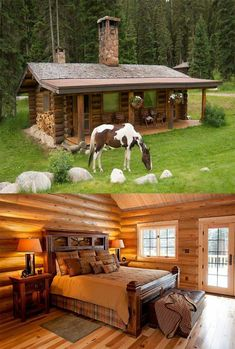 45 small log cabin homes ideas 04 Small Log Cabin, Tiny House Cabin, Log Cabin Homes, Tiny House Design, Cottage Homes, Log Cabins, Rustic Cabins, Garden Cottage, Shed Building Plans