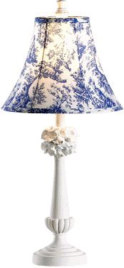 Shabby Chic Elegant Lamp with Blue Toile Fabric Lampshade