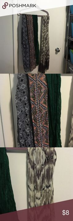 2 Scarves Light Weight Summer The gray print is from Express. The green multi print is large enough to use as a sarong or bathing suit cover up. Accessories Scarves & Wraps