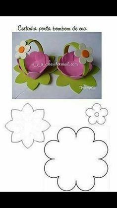 Trendy ideas for basket easter ideas mothers Easter Crafts, Felt Crafts, Diy And Crafts, Crafts For Kids, Easter Ideas, Flower Template, Easter Baskets, Happy Easter, Paper Flowers