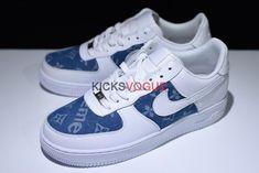 new concept 173c2 9a504 Nike Air Force 1 Supreme x Louis Vuitton Denim Custom Air Force Ones, Air  Force