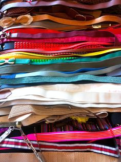 Inside the Cosmo Fashion Closet: rainbow belts! #behindthescenes #fashion #accessories