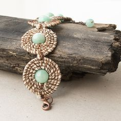 Fabric and wire jade bracelet - boho chic jewelry