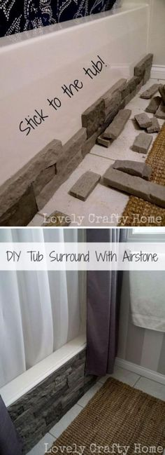 Update Your Boring Builder Bathtub With Airstone. Update Your Boring Builder Bathtub With Airstone. Source by The post Update Your Boring Builder Bathtub With Airstone. appeared first on Mack Makeovers. Tub Surround, Diy Bathroom Remodel, Bathroom Remodeling, Remodeling Ideas, Bathtub Remodel, House Remodeling, Inexpensive Bathroom Remodel, Kitchen Remodel, Amazing Bathrooms