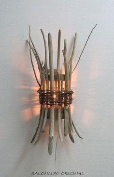 流木インテリア 壁掛けランプ R2316 自然素材 オリジナル :流木 ...