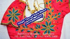 Simple Thread Work Blouse With Drawing Design in Aari Embroidery   Naksh...