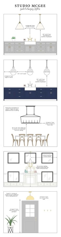 Hang chandelier 34 inches from the bottom of fixture to top of dining table. Studio McGee Guide to Hanging Lights Studio Mcgee, Studio Studio, House Studio, Studio Ideas, Interior Design Tips, Interior Exterior, Kitchen Interior, Interior Modern, Interior Lighting Design