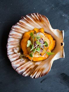 Seared Scallop on a Carrot Puree and Butter Sauce | thepinkdumpling