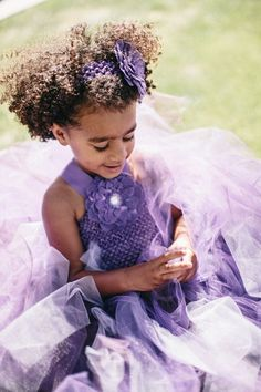 This is an adorable purple flower girl dress. She is going to play princess in this dress for so long