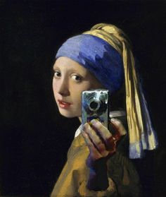 "Johannes Vermeer's ""Girl with a Pearl Earring"" gets a modern take, lol.  Bathroom mirror pic."
