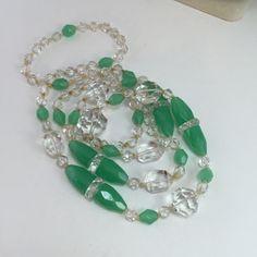 Antique Czech Glass Bead Necklace Art Deco Chrysoprase by ravished