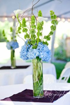 blue and green wedding flowers table decor centerpiece hydrangea centerpieces http://sophisticatedfloral.com/