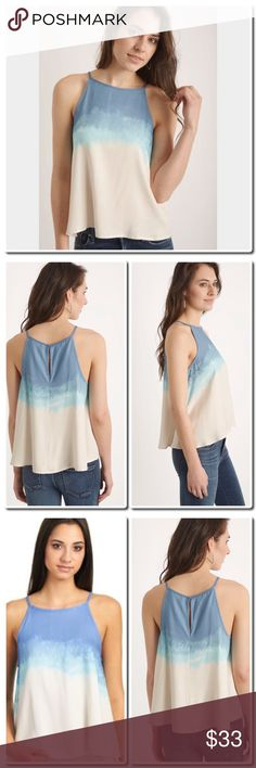 """NWOT Laguna Printed Swing Tank Top ils Blend in with the beautiful blues of the sea with this Laguna printed swing tank top by BB Dakota. With its flow fit, keyhole back accent, hi low hem, and ombre effect coloring, this top is the perfect summertime staple!   Laguna printed tank top Swingy silhouette Ombre effect coloring Keyhole back accent Hi low hem 100% rayon Hand wash cold, dry flat Measures approximately 22"""" from shoulder Model shown wearing size extra small (XS) Tops Tank Tops"""