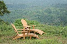 Luxury Teak Garden Adirondack Chair with Footstool