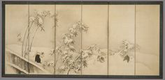 Maruyama Ōkyo (Japan, 1733-1795), Puppies among Bamboo in the Snow; Landscape in Snow, 1784, Mr. and Mrs. Allan C. Balch Fund (M.58.9.1-.2) #LACMA #winter