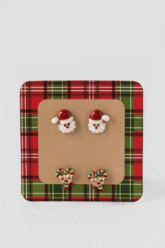 Santa & Candy Cane Studs Set