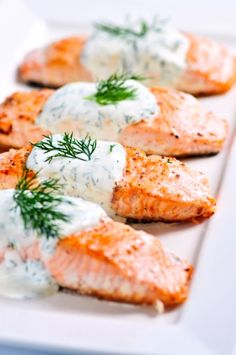 Baked Salmon with Dill Sauce                      Salmon is a fish that has tons of health benefits, and this lemon salmon with dill sauce happens to be one of our favorite dinner recipes. There's something about the zing from the lemon juice, which is perfectly balanced by the creamy yogurt sauce, that sings excellence!