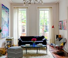 A colorful, art-filled living area.