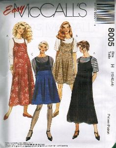 Vintage Fashion Library - Empire Waist Trapeze Tent Scoop Neck Slip Pullover Dress Sewing Pattern EASY Plus Size MCall's 8005 46 48 50