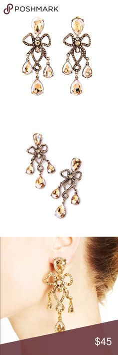 """Lotus MOHANA chandelier earrings Brand new MOHANA chandelier earrings from Lotus by 17L. Beautiful antique style with champagne crystal elements. Gorgeous piece for special occasion. About 3.5"""" long. Lotus by 17L Jewelry Earrings"""