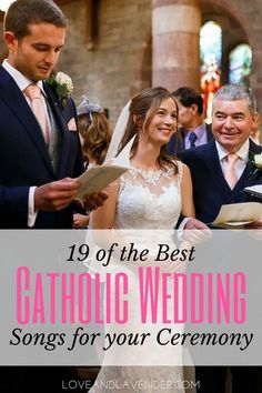 If you are planning a Catholic wedding mass, one part of the service that everyone will hear are the wedding songs you select. We've picked out some of our favorites with the help of an expert wedding DJ. Catholic Wedding Readings, Catholic Wedding Dresses, Catholic Marriage, Church Wedding Catholic, Catholic Wedding Programs, Ceremony Programs, Wedding Ceremony Ideas, Wedding Events, Wedding Week