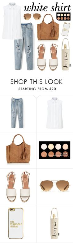 """""""White Shirt"""" by nabilaclydea ❤ liked on Polyvore featuring John Lewis, Oasis, NYX, Stella & Dot, BaubleBar, Kate Spade and WardrobeStaples"""