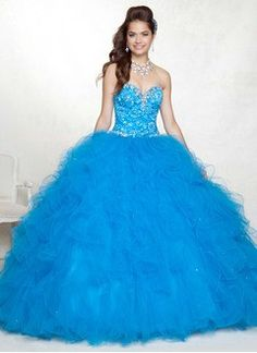 Ball-Gown Sweetheart Floor-Length Tulle Charmeuse Quinceanera Dress With Lace Beading