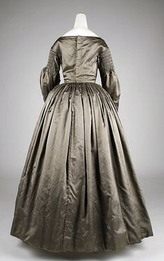Dress    Date:      1840s  Culture:      American  Medium:      silk, cotton  Dimensions:      Length at CB: 51 in. (129.5 cm)  Credit Line:      Purchase, Judith and Ira Sommer Gift, 2008  Accession Number:      2008.19