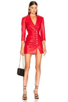 Shop for retrofete Willa Leather Dress in Red at FWRD. Free 2 day shipping and returns. Sexy Dresses, Dress Outfits, Nice Dresses, Fashion Outfits, Womens Fashion, Red Leather Dress, Leather Dresses, Rajputi Dress, Daily Dress