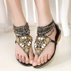 Fashion Bug Women's Beaded Toe Post Wedge Sandal www.fashionbug.us