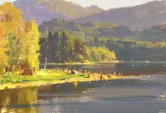 BEAUTIFUL!  From the view in this painting our cabin would be right across the lake!!! Alder Lake WA 7x10 gouache on watercolor block