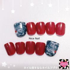 ネイル デザイン 画像 1580068 ネイビー 赤 デニム ワンカラー 夏 海 ソフトジェル フット ショート