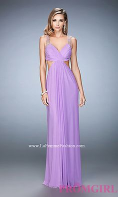 V-Neck Long Empire Waist La Femme Prom Dress with Cut Outs at PromGirl.com