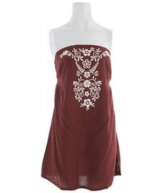 Woven bandeau style dress w/ center front embroidery  Billabong Sacrifice Dress Dark Coco  -Center back smocking  -Shirring below bust  -Mid thigh length   $46.00