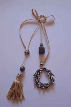 Lucky Charm, Tassel Necklace, Charmed, Drop Earrings, Burlap, Jewelry, Jewlery, Hessian Fabric, Jewerly