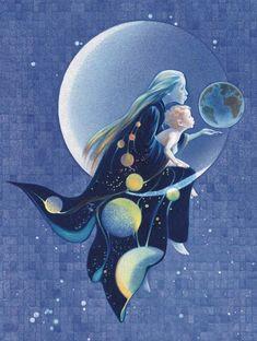 sage is a cancer moon child Sun Moon Stars, Sun And Stars, Illustrations, Illustration Art, Cancer Moon, Moon Pictures, Moon Magic, Beautiful Moon, Moon Goddess