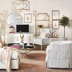 Thomas Round Mirror Leather Furniture, Find Furniture, Custom Furniture, Transitional Home Decor, Room Planning, Ballard Designs, Round Mirrors, Upholstered Chairs, Chandelier Lighting